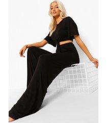 basic pyjama met strik, black