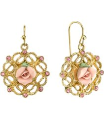 2028 gold-tone pink porcelain rose with pink accent filigree drop earrings