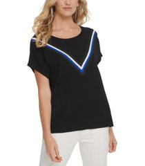 dkny metallic tri-stripe t-shirt