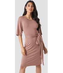 na-kd wrapped detail jersey dress - pink