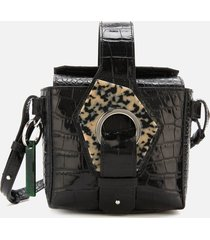 ganni women's croc print bucket bag - black