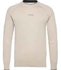 lycra blend sweater stickad tröja m. rund krage beige calvin klein