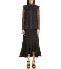 women's ganni ruffle crepe wrap skirt, size 10 us - black