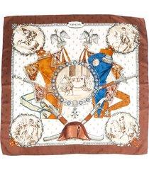 hermes napoleon multicolor silk scarf brown/multicolor sz: