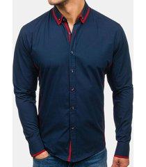 casual stitching pulsanti comfy tops manica lunga sottile camicia per uomo