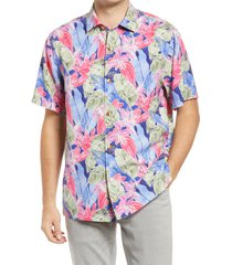 men's tommy bahama ibiza beach club short sleeve silk button-up camp shirt, size small - blue