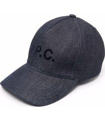 a.p.c. blue cotton denim cap