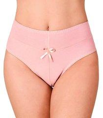 calcinha vip lingerie cintura alta algodão rosa - kanui