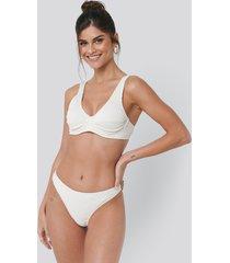 na-kd swimwear ribbed bikini panty - white