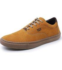 sapatenis casual couro dia a dia trivalle shoes amarelo - kanui