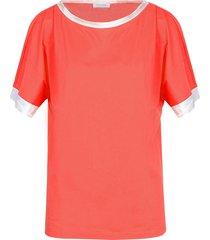 gran sasso designer t-shirts & tops, red cotton women's t-shirt