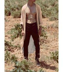 cárdigan de personalidad de moda de manga larga a rayas casual para hombre
