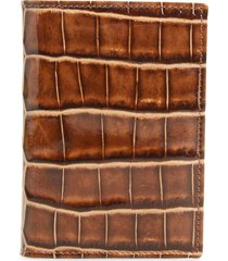 men's mezlan alligator leather trifold wallet - brown