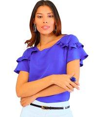 blusa manga corta azul rey  unipunto 32239