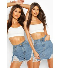 distressed 2-pack denim rok en short, middenblauw