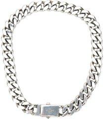 saint laurent metal curb chain necklace