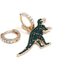 classico oro verde strass dinosaur ciondola orecchini moda asimmetria orecchini per le donne regali