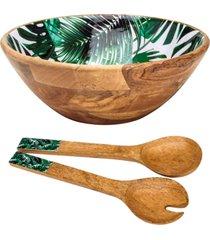 conjunto leafage de saladeira e talheres de madeira bon gourmet verde - verde - dafiti