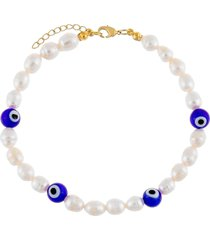 adina's jewels freshwater pearl evil eye station anklet in white at nordstrom