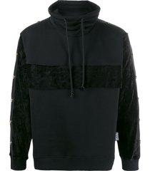 versace jeans couture high-neck side stripe sweatshirt - black