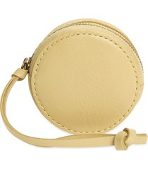 women's madewell the mini leather circle pouch - yellow