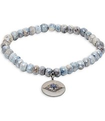 sterling silver, coated sapphire, diamond & blue sapphire bead bracelet