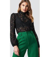na-kd party high neck lace blouse - black