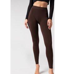 calzedonia super opaque microfiber leggings woman brown size 1/2