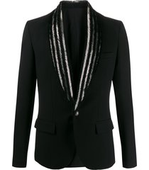 balmain beaded lapel blazer - black
