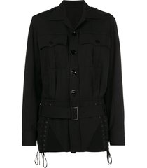 jean paul gaultier pre-owned lace-up detailing belted jacket - black