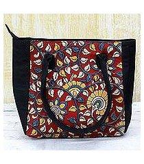 batik cotton tote handbag, 'floral thicket in crimson' (india)