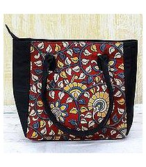 batik cotton tote handbag, 'floral thicket in crimson' (india)