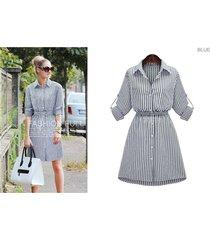 womens check shirt mini dress ladies long sleeve casual stripe slim belted dress