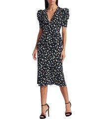 michael kors women's ruffle-trimmed floral silk dress - cadet multi - size 8