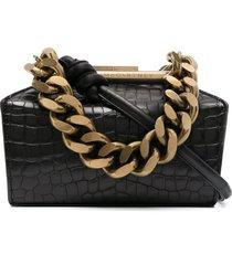 stella mccartney medium chunky chain clutch bag - black