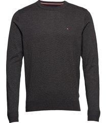 core cotton-silk cne stickad tröja m. rund krage grå tommy hilfiger