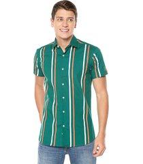 camisa manga corta masculina rayas verde, nude, blanco spandex los caballeros