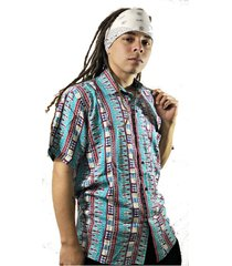 camisa afro vintage alta calidad hombre manga corta