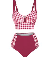 gingham push up ruched high waisted tankini swimwear