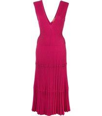 altuzarra riggs ribbed knit midi dress - pink