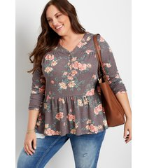 maurices plus size womens brown floral long sleeve henley top