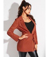 yoins naranja con cordones diseño abrigo de manga larga con cuello de solapa