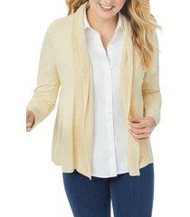 plus size women's foxcroft open front a-line cardigan, size 1x - beige