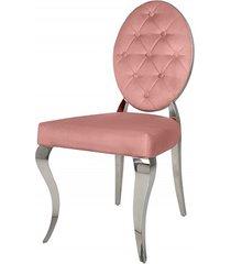 krzesło modern barock pudrowy róż aksamit 92cm