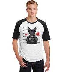 camiseta masculina raglan pets bulldog francês guilty of love