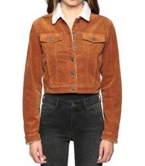 hidden jeans sherpa-lined corduroy jacket