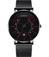 reloj cuarzo hombre pulso malla acero ultrafino 230 negro rojo