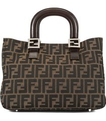 fendi pre-owned zucca pattern hand tote bag - brown
