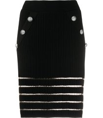 balmain sheer detail knitted fitted skirt - black