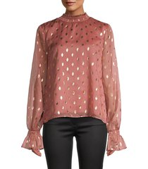 endless rose women's dot-print chiffon blouse - mauve - size s